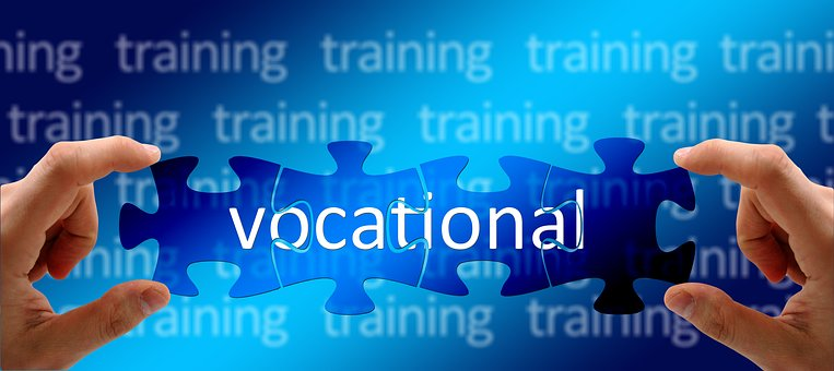 Graphic with a puzzle that shows the word Vocational being made