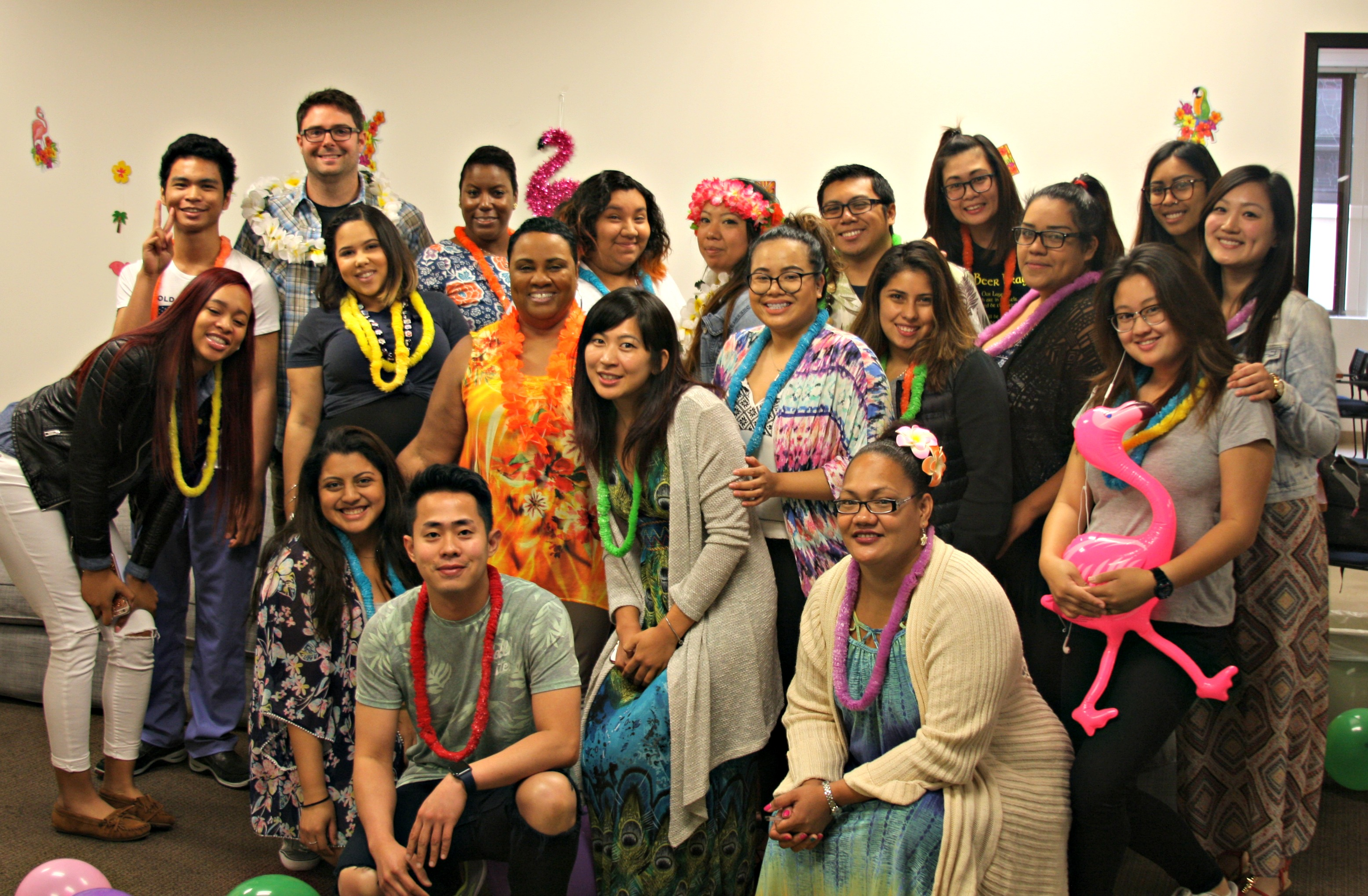 Medical assistant students having fun on Hawaii day