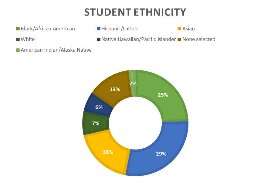 A graphic showing the ethnic distribution of the B A M A student body. African American 25%. Hispanic/Latino 29%. Asian 18%. White 7%. Native Hawaiian/Pacific Islander 6%. None selected 13%. American Indian/Alaska Native 2%.