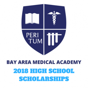 B A M A school's logo with text underneath. The text says Bay Area Medical Academy 2018 High School Scholarships 2018.